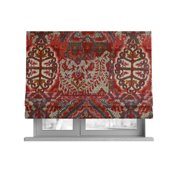 Roman Blind In Red Kilim Fabric
