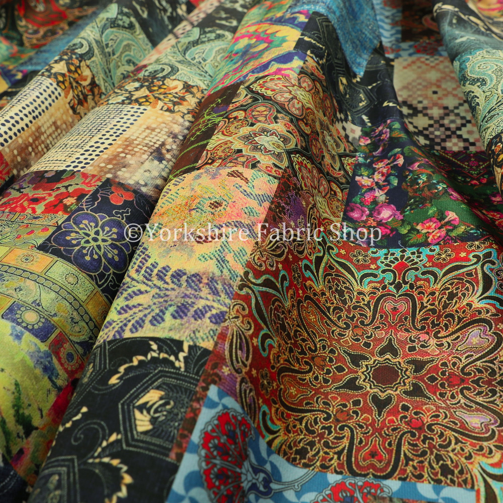 Yorkshire Fabric Shop CTR-66 Velvet Patchwork Fabric