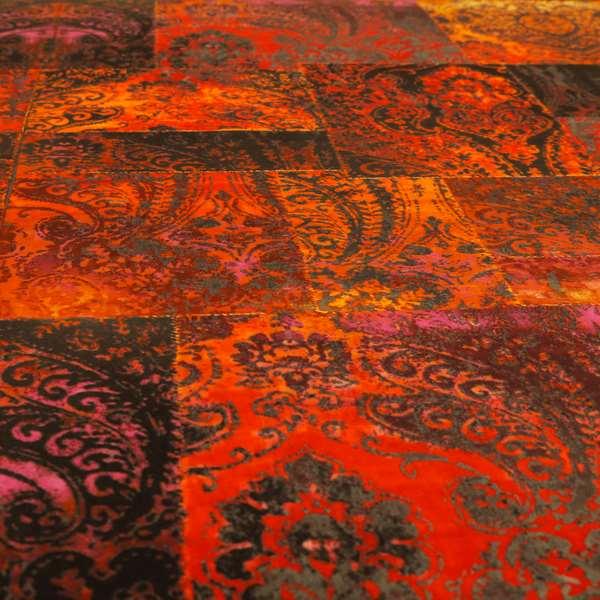 Amalfi Patchwork Pattern Printed Velvet Red Orange Colour Upholstery Fabric