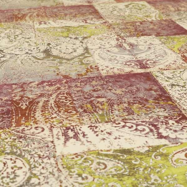 Amalfi Patchwork Pattern Printed Velvet Purple Green Colour Upholstery Fabric