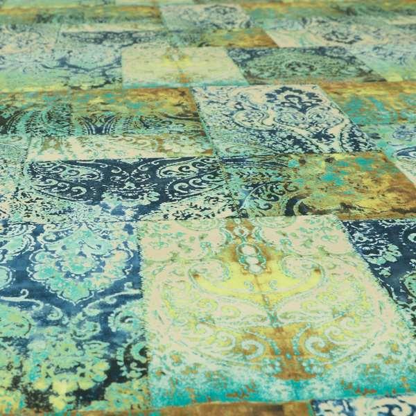 Amalfi Patchwork Pattern Printed Velvet Green Blue Colour Upholstery Fabric