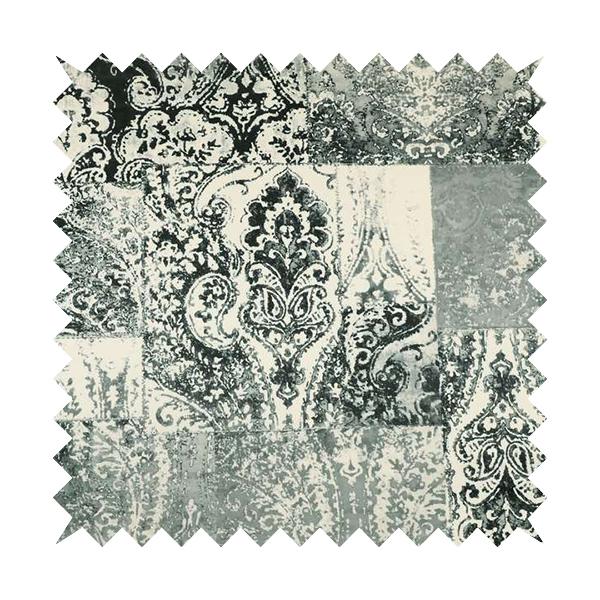 Amalfi Patchwork Pattern Printed Velvet Grey Black White Colour Upholstery Fabric