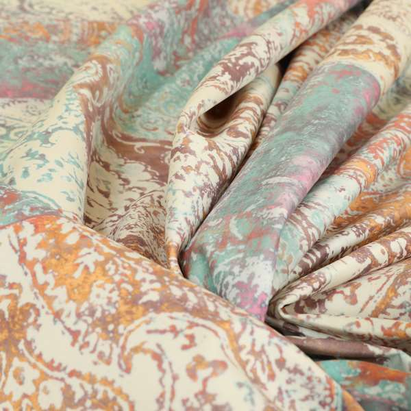 Amalfi Patchwork Pattern Printed Velvet Multi Coloured Pastel Colours Upholstery Fabric