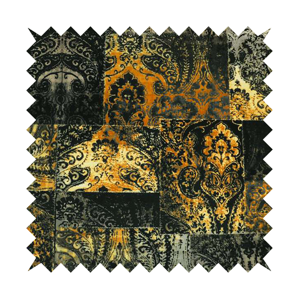 Amalfi Patchwork Pattern Printed Velvet Black Golden Yellow Colours Upholstery Fabric