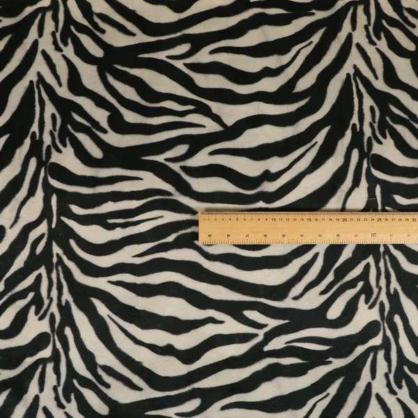 Animal Print Zebra Theme Pattern Black White Colour Printed Velvet Velour Upholstery Curtain Fabrics