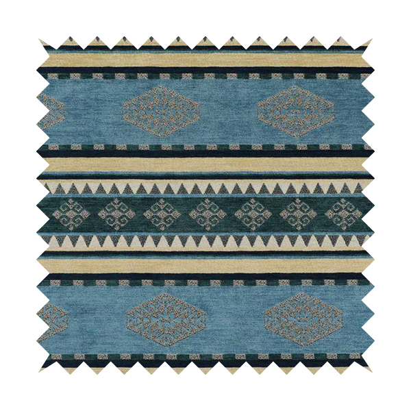 Jaipur Designer Kilim Aztec Pattern With Stripes In Blue Teal Silver Colour Furnishing Fabric CTR-01