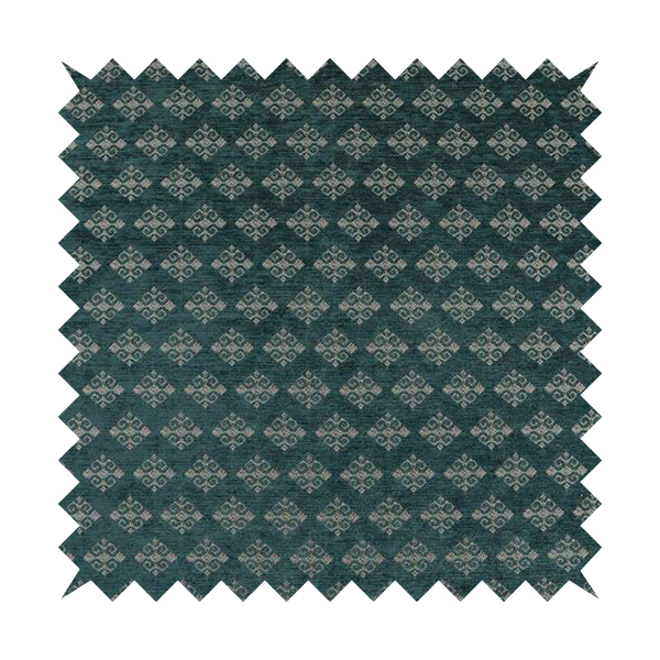 Jaipur Designer Diamond Pattern In Blue Silver Colour Furnishing Fabric CTR-02