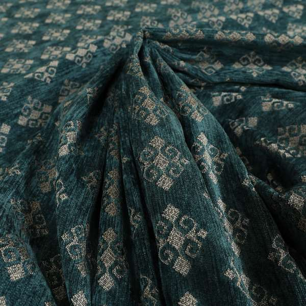 Jaipur Designer Diamond Pattern In Blue Silver Colour Furnishing Fabric CTR-02