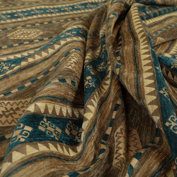 Jaipur Designer Kilim Aztec Pattern With Stripes In Brown Teal Gold Colour Furnishing Fabric CTR-03