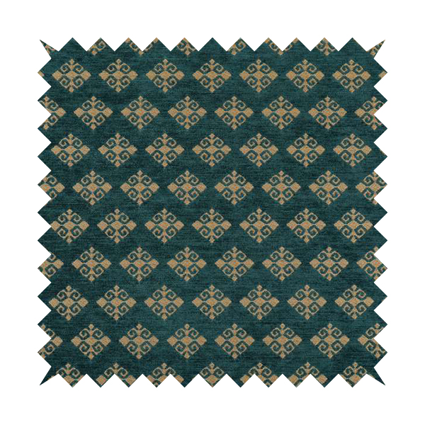 Jaipur Designer Diamond Pattern In Blue Gold Colour Furnishing Fabric CTR-04