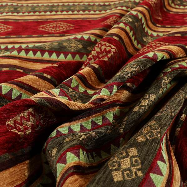 Jaipur Designer Kilim Aztec Pattern With Stripes In Red Gold Green Colour Furnishing Fabric CTR-05