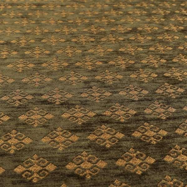 Jaipur Designer Diamond Pattern In Green Gold Colour Furnishing Fabric CTR-06
