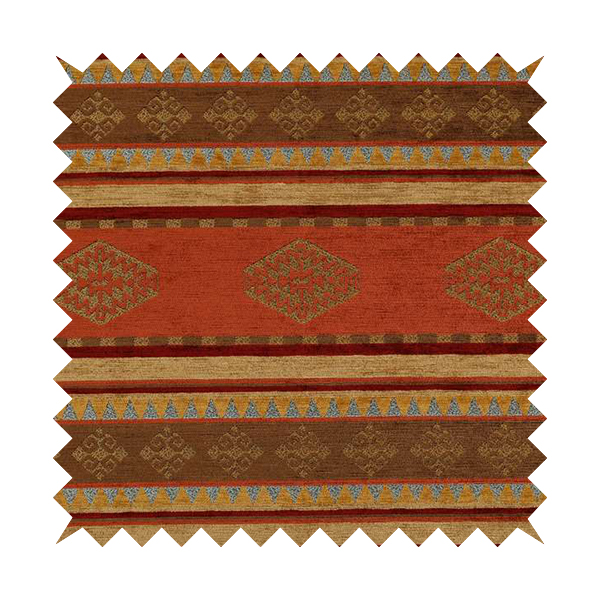 Jaipur Designer Kilim Aztec Pattern With Stripes In Orange Red Gold Colour Furnishing Fabric CTR-07