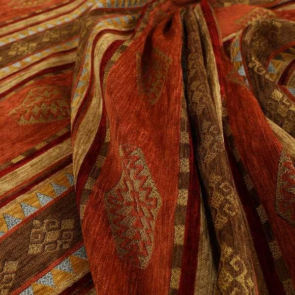 Jaipur Designer Kilim Aztec Pattern With Stripes In Orange Red Gold Colour Furnishing Fabric CTR-07