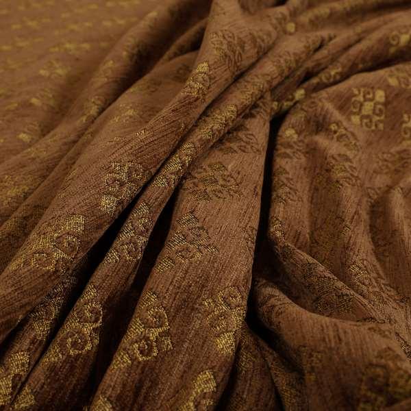 Jaipur Designer Diamond Pattern In Brown Gold Colour Furnishing Fabric CTR-08