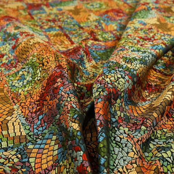 Pasha Stained Mosaic Pattern Multicolour Chenille Upholstery Furnishing Fabric CTR-1059