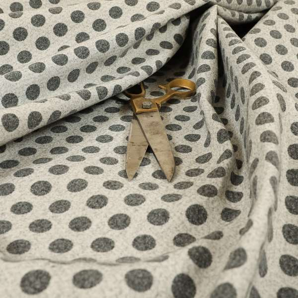 Elemental Collection Dotted Pattern Soft Wool Textured Grey White Colour Upholstery Fabric CTR-110