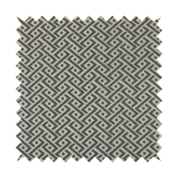 Elemental Collection Geometric Chevron Pattern Soft Wool Textured Grey White Colour Upholstery Fabric CTR-111