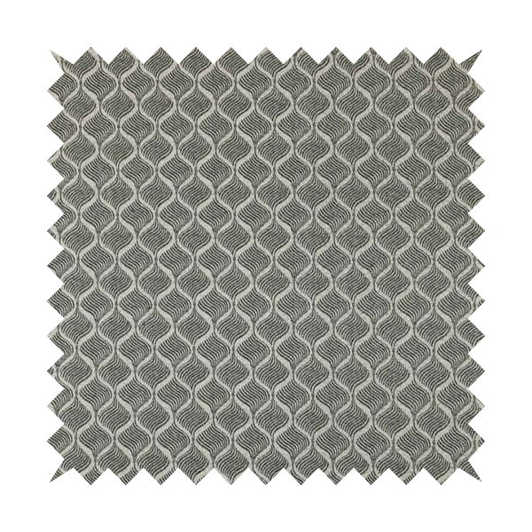 Elemental Collection Small Motif Pattern Soft Wool Textured Grey White Colour Upholstery Fabric CTR-112