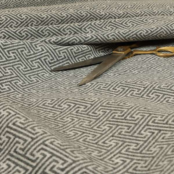 Elemental Collection Geometric Pattern Soft Wool Textured Grey White Colour Upholstery Fabric CTR-113