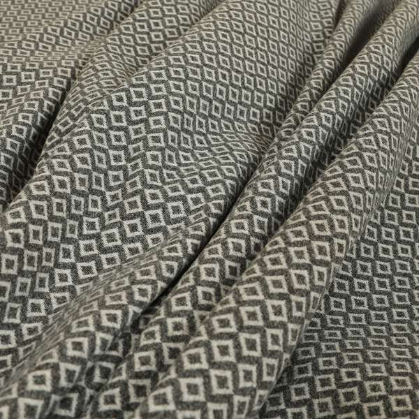 Elemental Collection Small Motif Geometric Pattern Soft Wool Textured Grey White Colour Upholstery Fabric CTR-114