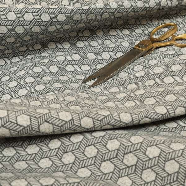 Elemental Collection Geometric Pattern Soft Wool Textured Grey White Colour Upholstery Fabric CTR-115