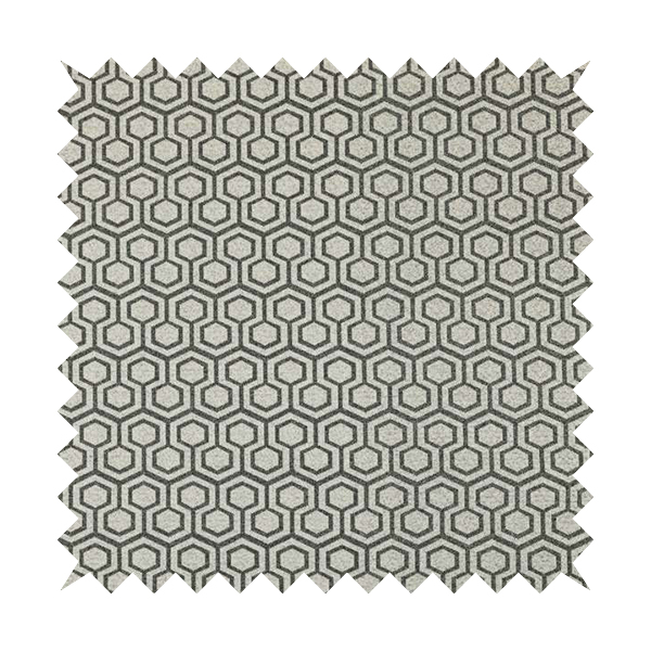 Elemental Collection Hexagon Pattern Soft Wool Textured Grey White Colour Upholstery Fabric CTR-116