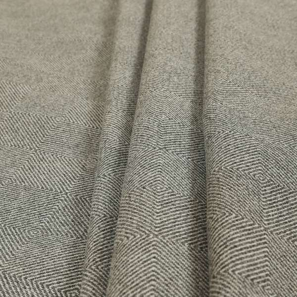 Elemental Collection 3D Geometric Shape Pattern Soft Wool Textured Grey White Colour Upholstery Fabric CTR-117