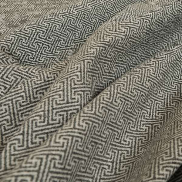 Elemental Collection Geometric Lock Pattern Soft Wool Textured Grey White Colour Upholstery Fabric CTR-118