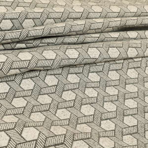 Elemental Collection Geometric Pattern Soft Wool Textured Grey White Colour Upholstery Fabric CTR-119
