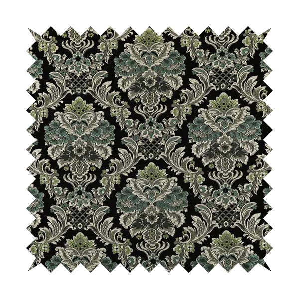 Legacy Damask Collection Exotic Rich Floral Pattern Black Blue Green Colour Upholstery Fabric CTR-153