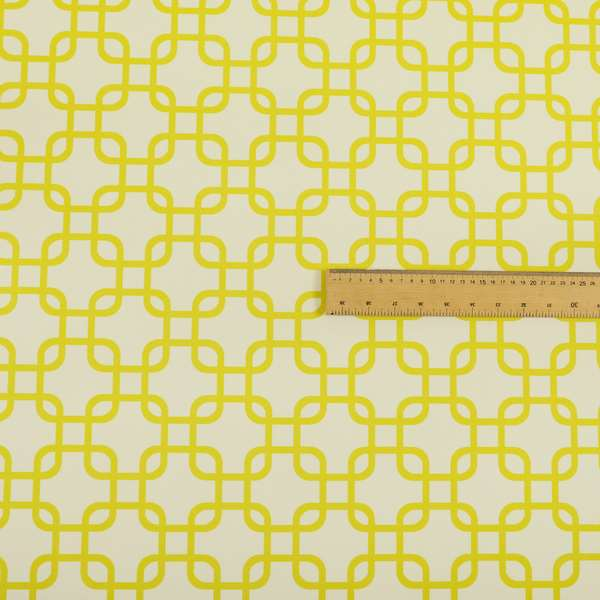 Freedom Printed Velvet Fabric Collection Yellow Maze Geometric Pattern Upholstery Fabric CTR-167
