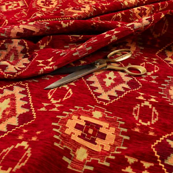 Opera Kilim Aztec Pattern Collection In Soft Chenille Red Colour Upholstery Fabric CTR-287