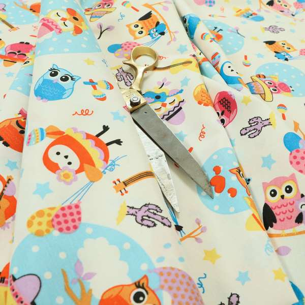 Playtime Printed Cotton Fabrics Collection Blue Colour Owl Pattern Water Repellent Upholstery Fabric CTR-300