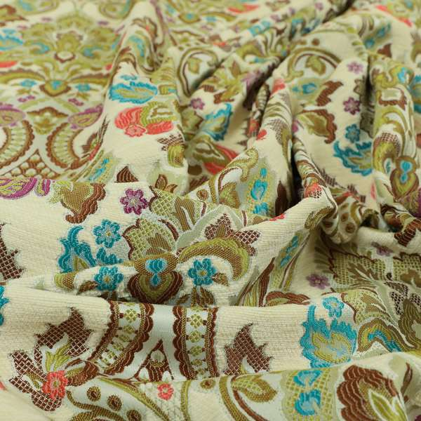 Komkotar Fabrics Rich Detail Floral Damask Upholstery Fabric In Cream Colour CTR-400