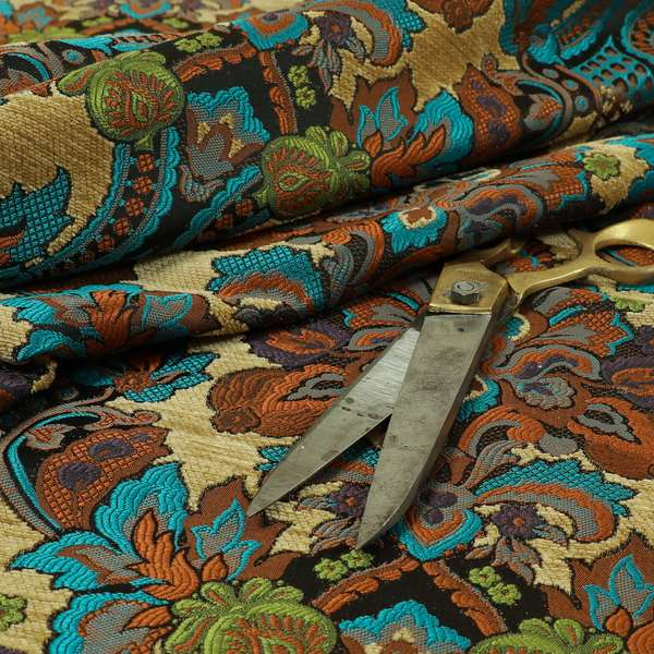 Komkotar Fabrics Rich Detail Floral Damask Upholstery Fabric In Beige Colour CTR-401