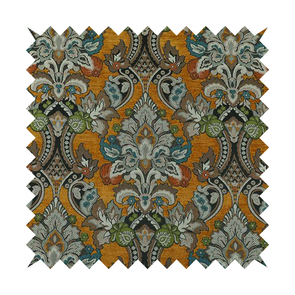 Komkotar Fabrics Rich Detail Floral Damask Upholstery Fabric In Orange Colour CTR-402