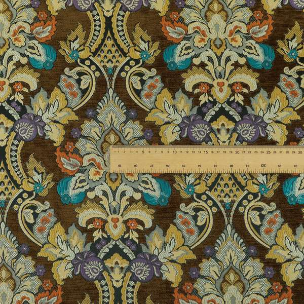 Komkotar Fabrics Rich Detail Floral Damask Upholstery Fabric In Brown Colour CTR-403