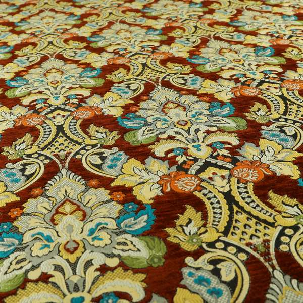 Komkotar Fabrics Rich Detail Floral Damask Upholstery Fabric In Rustic Colour CTR-404