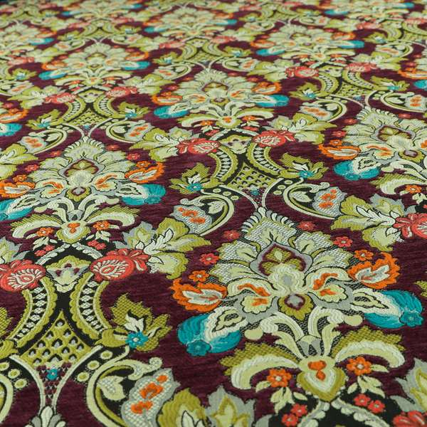 Komkotar Fabrics Rich Detail Floral Damask Upholstery Fabric In Purple Colour CTR-405