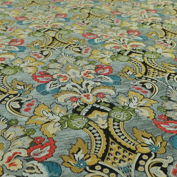 Komkotar Fabrics Rich Detail Floral Damask Upholstery Fabric In Grey Colour CTR-406