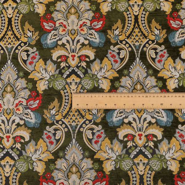 Komkotar Fabrics Rich Detail Floral Damask Upholstery Fabric In Green Colour CTR-407