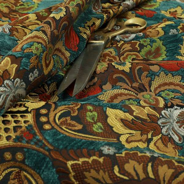 Komkotar Fabrics Rich Detail Floral Damask Upholstery Fabric In Blue Colour CTR-408