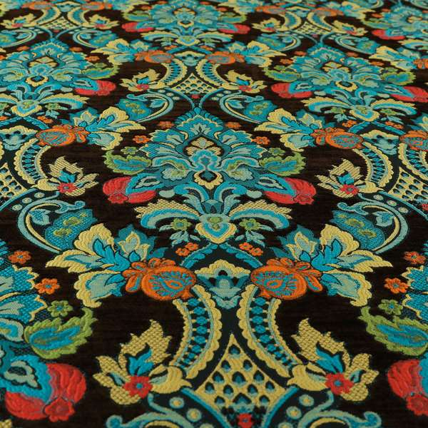 Komkotar Fabrics Rich Detail Floral Damask Upholstery Fabric In Chocolate Brown Colour CTR-409