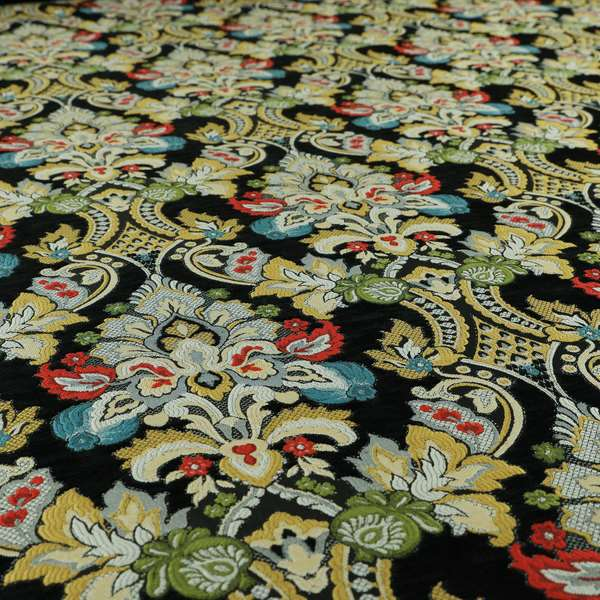 Komkotar Fabrics Rich Detail Floral Damask Upholstery Fabric In Black Colour CTR-410
