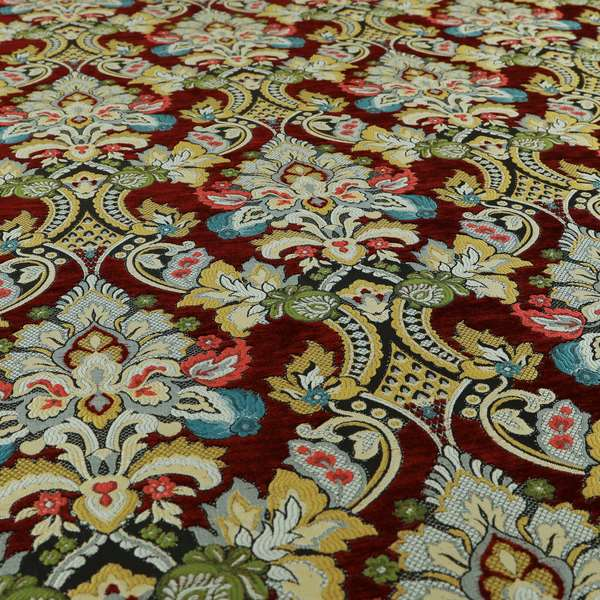 Komkotar Fabrics Rich Detail Floral Damask Upholstery Fabric In Red Colour CTR-411