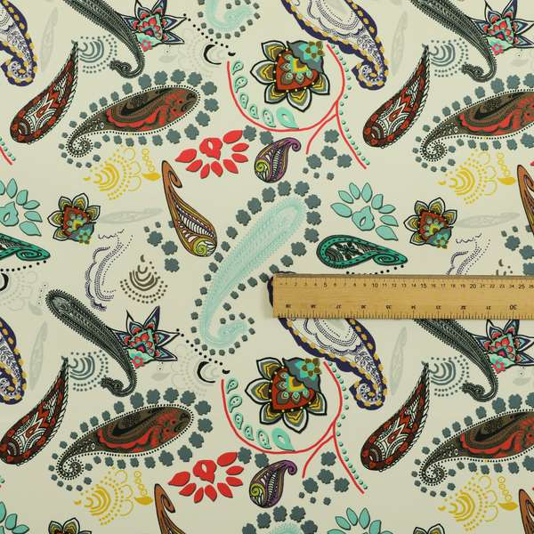 Freedom Printed Velvet Fabric Collection Colourful Paisley Pattern Upholstery Fabric CTR-47