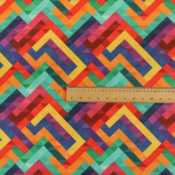 Freedom Printed Velvet Fabric Colourful Geometric Chevron Lock Pattern Upholstery Fabrics CTR-472