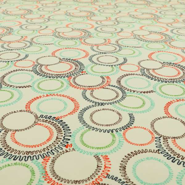 Freedom Printed Velvet Fabric Collection Colourful Round Pattern Upholstery Fabric CTR-48