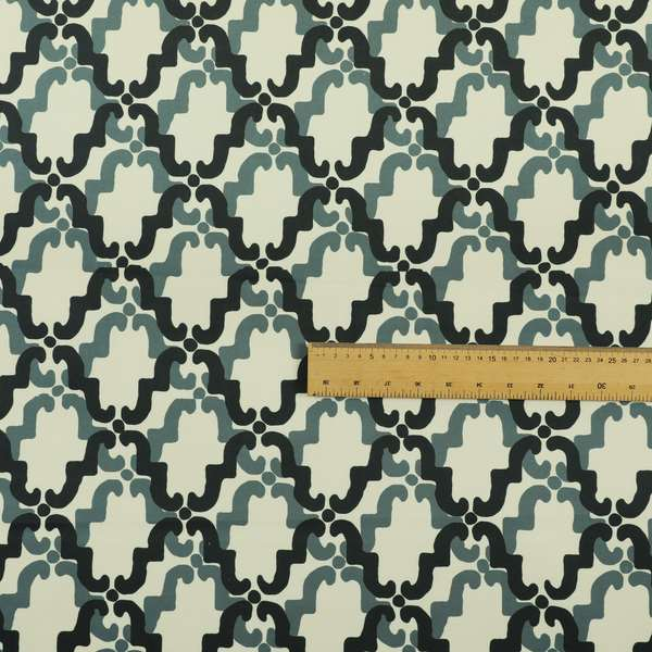 Freedom Printed Velvet Fabric Collection Blue Medallion Pattern Upholstery Fabric CTR-50
